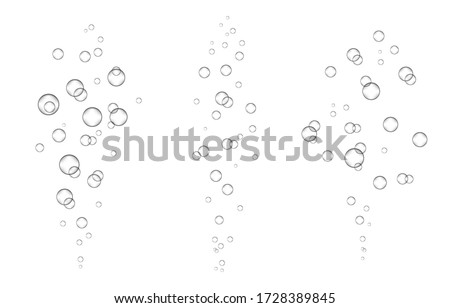 Underwater fizzing air, water or oxygen  bubbles on white  background. Effervescent drink. Fizzy sparkles in sea, aquarium. Champagne. Soda pop. Undersea vector texture.