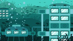 Underwater futuristic building. Creative concept. Future architecture. Vector illustration close-up.