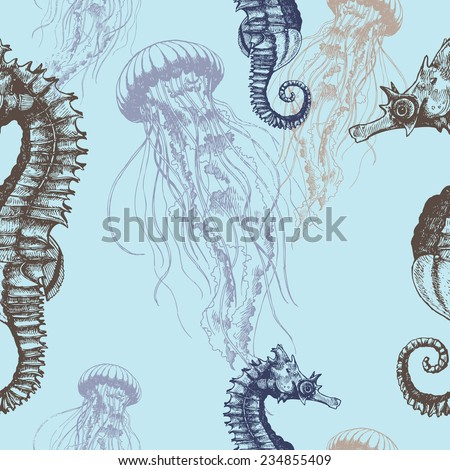 Stock Photo Underwater hand drawn illustration. Vector seamless pattern with seahorses and jellyfishes.