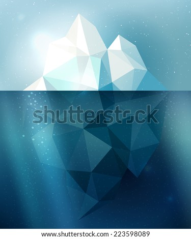 Underwater iceberg arctic snow vector illustration in blue and white colors