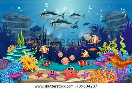 underwater illustration and life. the beauty of marine life. fish, algae and coral reefs are beautiful and colorful