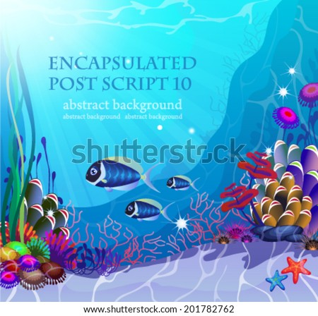 Underwater landscape with exotic plants and animals