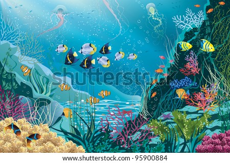 Underwater landscape with various water plants and swimming tropical fishes. All objects are grouped.