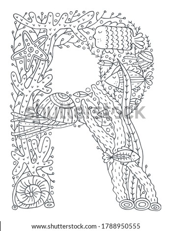 Underwater latin alphabet with sea life and seaweeds doodles. Cute children illustration. Poster, banner, greeting card design element. Perfect for coloring pages. The letter R Photo stock ©