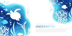 Underwater layered banner. Vector background in paper art style with reef landscape. Turtle, corals, fish, polyps, shellfish and seaweeds and other sea wildlife.