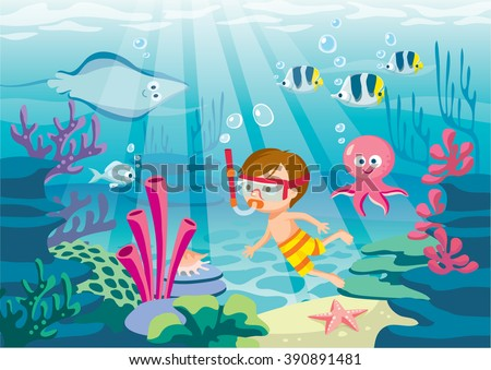 underwater life with boy diving