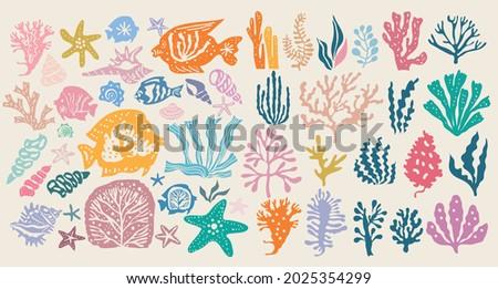 Underwater marine flora set of seaweeds, planting, marine algae and ocean corals silhouettes. Vector seaweed cartoon sketch aquarium decor