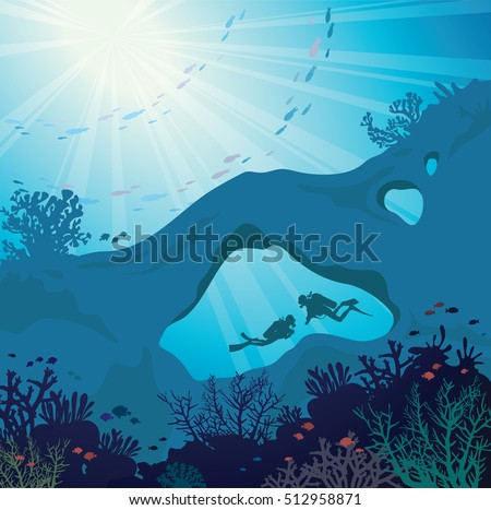Stock Photo Underwater marine wildlife. Silhouette of two scuba divers in the cave and beautiful coral reef with school of fish on a blue sea. Nature vector illustration.