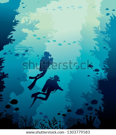 Underwater nature with coral reef, school of fishes and silhouette of two scuba diver on a blue sea background. Vector illustration with marine wildlife.