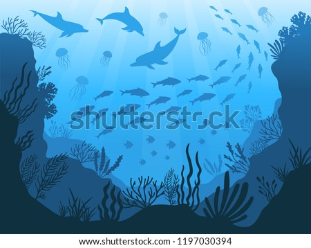 Underwater ocean fauna. Deep sea plants, fishes and animals. Marine seaweed, fish under water and animal silhouette with corals, algae seaweed cartoon vector background illustration