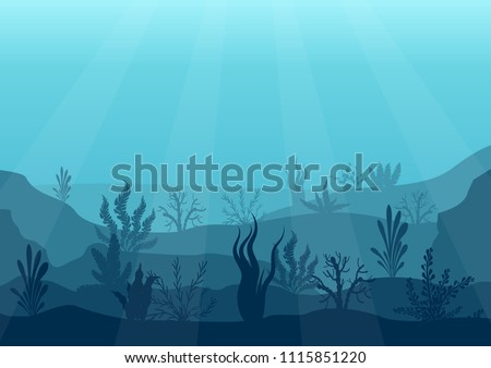 Underwater ocean scene. Deep blue water, coral reef and underwater plants. Marine sea bottom silhouette with seaweed, algae and coral. Vector illustration background.
