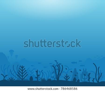 Stock Photo Underwater ocean scene. Deep blue water, coral reef and underwater plants with fish. Marine water life and ground with rocks. Modern line illustration.