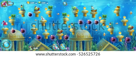 underwater ruins with a set of