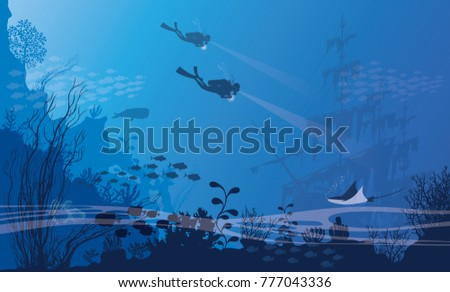 underwater scene; a vector seascape with reef; a marine sea bottom silhouette with seaweed, algae and coral; hand drawn realistic ocean background -Summer - sea - Sponge - fish silhouette - Old Ship