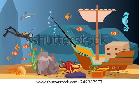 underwater scene diver and