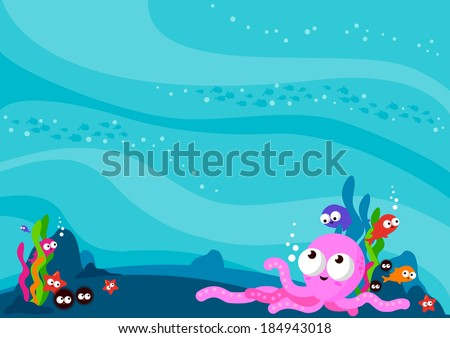 Underwater sea animals background & copy-space. A beautiful underwater background full of colorful sea creatures: octopus, sea urchin, starfish and fish.
