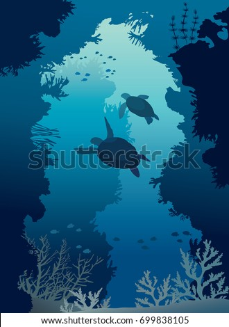 underwater sea cave with