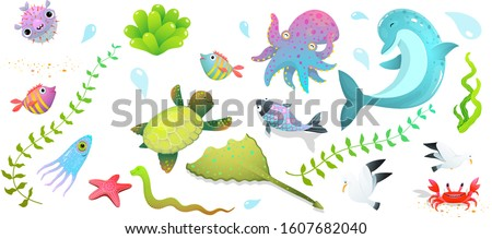 Underwater sea life, ocean creatures clipart collection isolated on white. Cute kids sea creatures set: dolphin, sea star, fishes and squid, crab and other amusing underwater creatures cartoon.