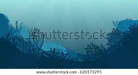 Underwater sea scene. Realistic seascape with reef. Ocean bottom silhouette of seaweed, grass, algae and corals. Beautiful marine vector illustration.