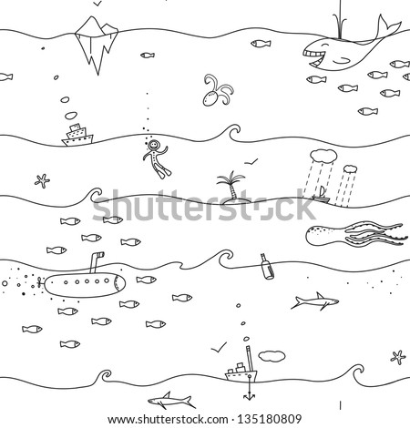 Underwater Seamless Lines Pattern. Sea landscape black-and-white background.  EPS8 no effects.