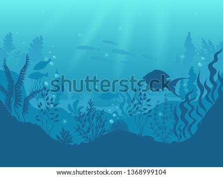 Underwater silhouette background. Undersea coral reef, ocean fish and marine algae cartoon scene, sunbeams under water. Vector aqua life and sea bottom