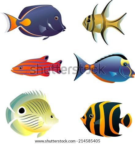 underwater tropical fish set