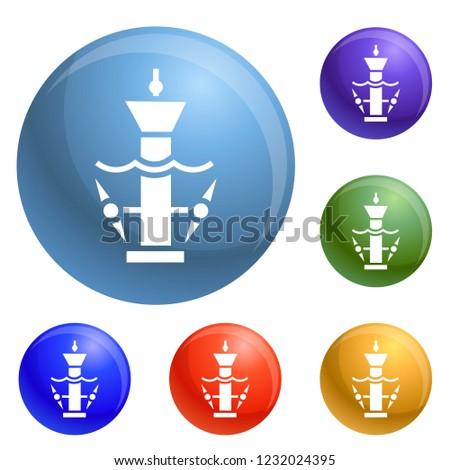 underwater turbine icons set