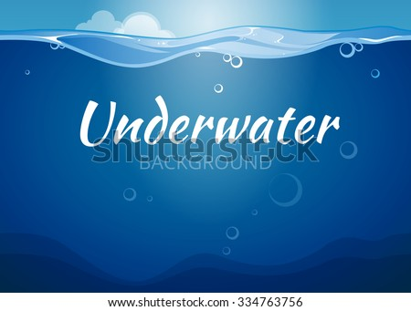 Underwater vector background in comic book style. Sea water,  nature ocean wave illustration