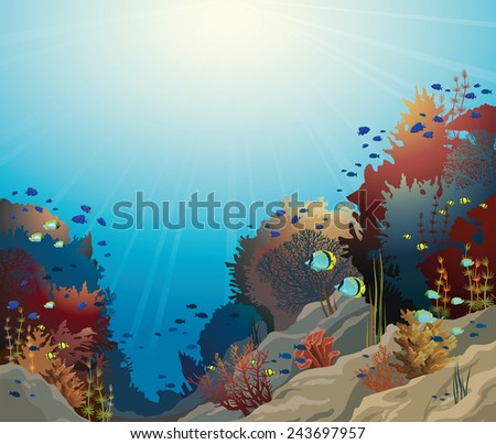 underwater vector seascape with