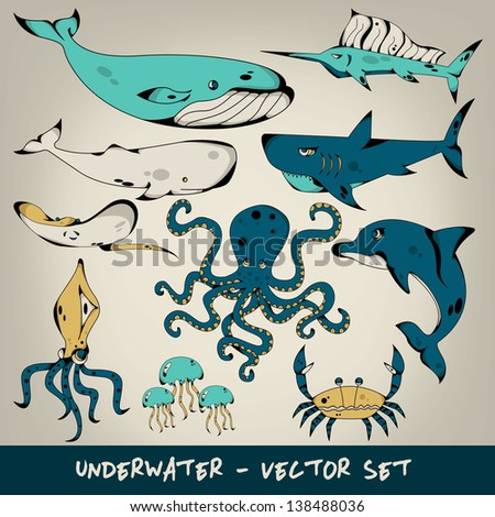 underwater vector set