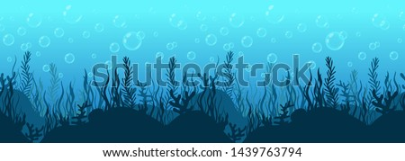 Underwater world background, sea bottom silhouette with algae and coral reef, seabed hand drawn, seascape horizontal seamless border, blue ocean flat drawing, marine frame. Vector illustration