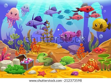 underwater world  cartoon