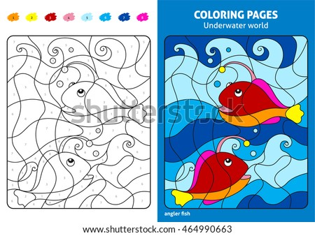Underwater World Coloring Page For Kids Angler Fish Printable Design Book