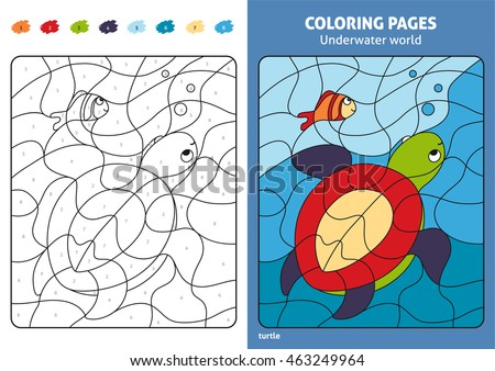 Underwater World Coloring Page For Kids Turtle And Fish Printable Design Book