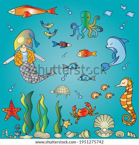 underwater world doodle clipart