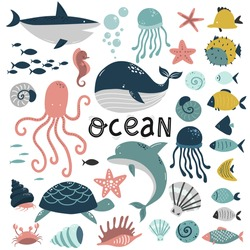 underwater world elements set, sea ocean, cute animals jellyfish and fish, blue whale and shark, vector illustration