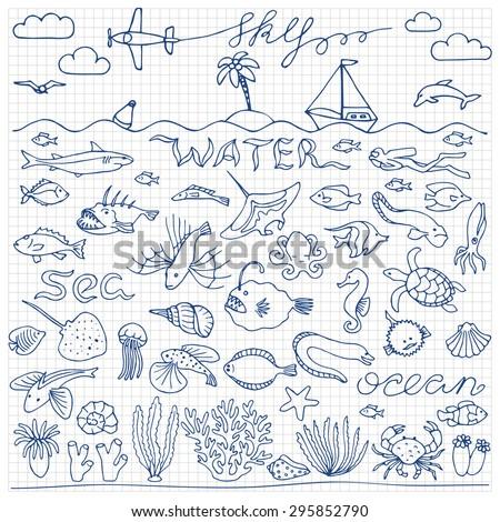 underwater world hand drawn