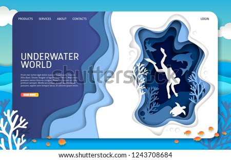 stock-vector-underwater-world-landing-page-website-template-vector-paper-cut-tropical-underwater-sea-cave-with