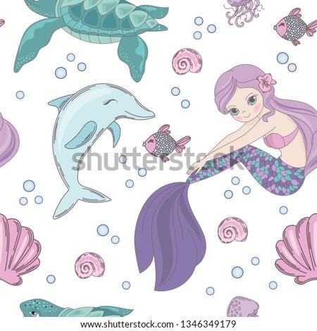 UNDERWATER WORLD Mermaid Princess Girl Underwater  Pattern Vector Illustration
