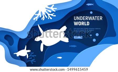 Underwater world page template. Paper art underwater world concept with turtles silhouette. Paper cut sea background with tortoise, waves, fish and coral reefs. Craft vector illustration