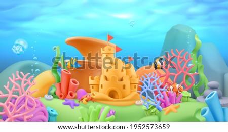 Underwater world panorama landscape. 3d vector cartoon background. Plasticine art illustration Photo stock ©