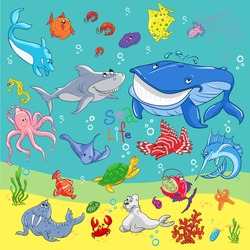 Underwater world sea animals icons.sea turtle, whale, crab, starfish, octopus and jellyfish, seahorse and dolphin, shark, shell, and shrimp, stingray and marlin, killer whale and hammerhead shark