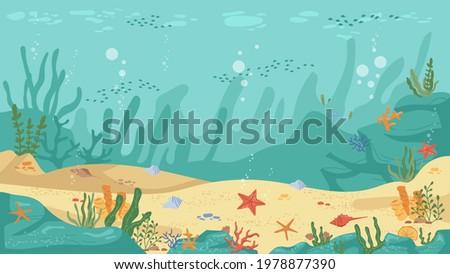 Underwater world sea bottom, algae and coral reef, sea stars and fish, flat cartoon background. Vector aquarium with seafloor, marine wildlife scenery, bubbles. Seaweeds and stones undersea plants
