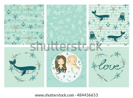 Stock Photo Underwater world. Sea, ocean. Fantasy, fairy tale. Mermaids. Little cute girls.  Seamless patterns under masks.