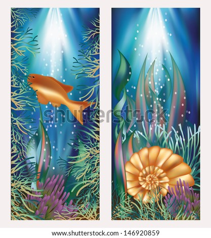 Underwater world two banners with golden fish and seashell, vector illustration
