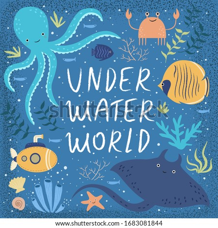 underwater world  vector cute