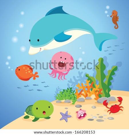 Underwater world. Vector illustration of colorful sea creatures.