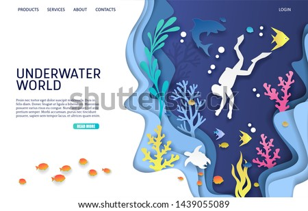 Underwater world vector website template, web page and landing page design for website and mobile site development. Paper cut undersea cave, scuba diver, coral reef, fish, shark, turtle. Scuba diving.