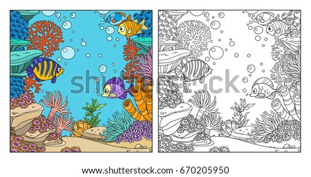 Underwater World With Corals Fish Algae And Anemones Coloring Page On White