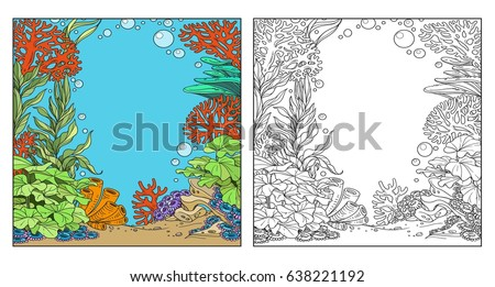 Underwater World With Corals Seaweed And Anemones Coloring Page On White Background